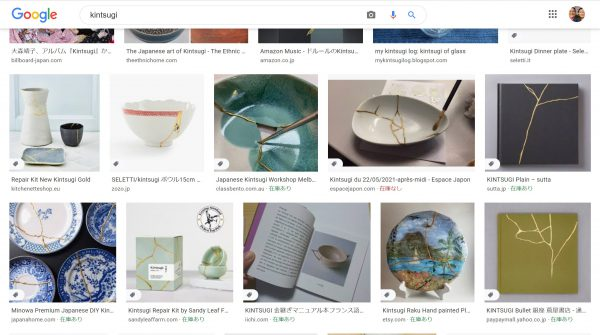 画像検索「kintsugi」の結果 化学物質を使った簡易金継と 本物の自然派金継が混在して 紛らわしい